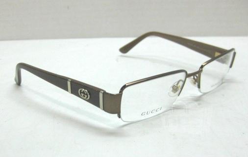 Plastic Frame Glasses Crooked : GUCCI GG 2878 Brown Semi-Rimless Womens Designer Eyeglass ...