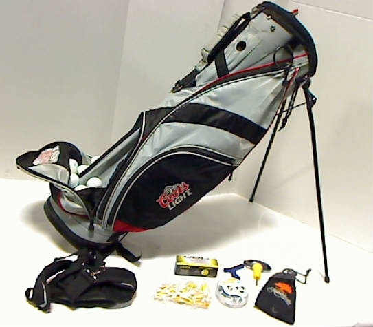 "Light Stand Golf Bag: Coors Light Grey, Black & Red Stand Golf Bag 34.5"" 5-Way W"