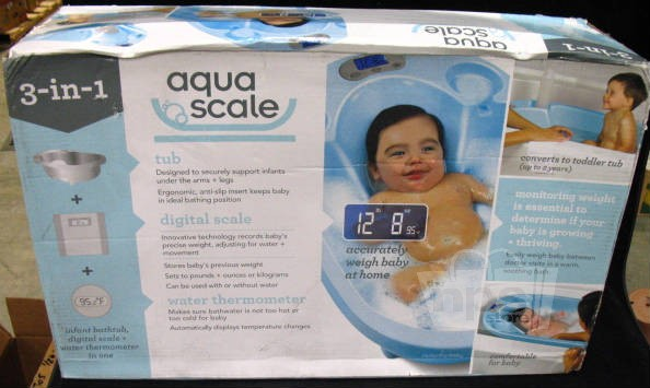 aqua scale 3 in 1 blue baby bath tub scale water thermometer ebay. Black Bedroom Furniture Sets. Home Design Ideas