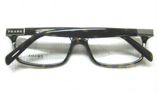 Plastic Frame Glasses Crooked : PRADA VPR02O Mens Tortoise Rectangular Designer Eyeglass ...