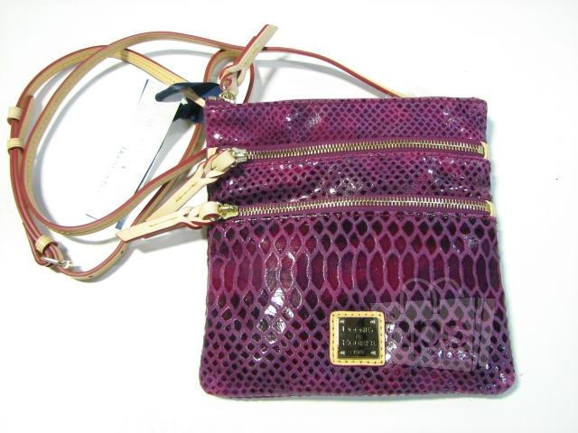429cafff4971 DOONEY & BOURKE 5T298 Fuchsia Embossed Snakeskin Leather Triple Zip Handbag