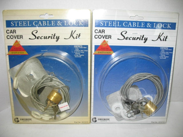 coverite 20101c car cover security kit 7ft steel cable lock lot of 2 new ebay. Black Bedroom Furniture Sets. Home Design Ideas